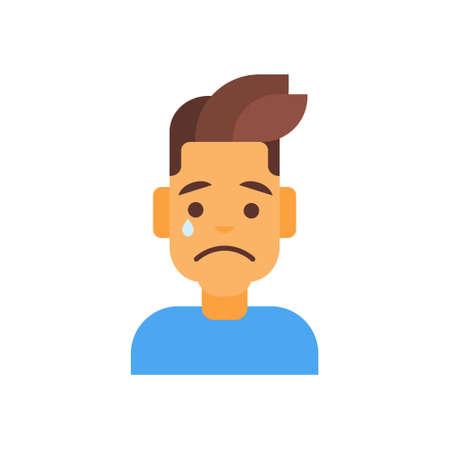 dissappointed: Profile Icon Male Emotion Avatar, Man Cartoon Portrait Sad Face Crying Vector Illustration