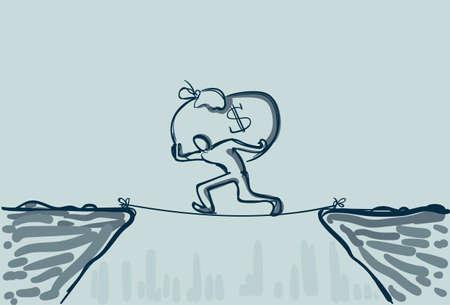 financial cliff: Business Man Walk Over Cliff Gap Mountain Carry Big Money Bag Risking Dangerous Vector Illustration