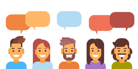 Casual People Group Chat Bubble Media Communication Social Network Flat Design Vector Illustration