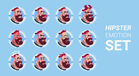 Profile Icon Male Emotion Avatar Set , Hipster Man Cartoon Portrait Faces Collection Flat Vector Illustration