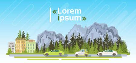 Electrical Cars On Road Over Mountains Summer Landscape Forest Ecological Friendly Transport Flat Vector Illustration Illustration