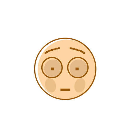 Sad Cartoon Face Shocked Negative People Emotion Icon Vector Illustration