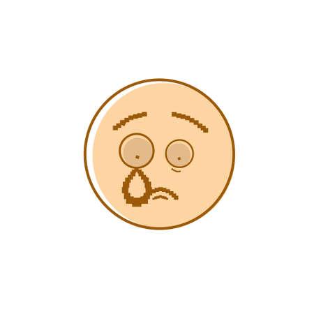 bad mood: Sad Cartoon Face Crying Negative People Emotion Icon Vector Illustration