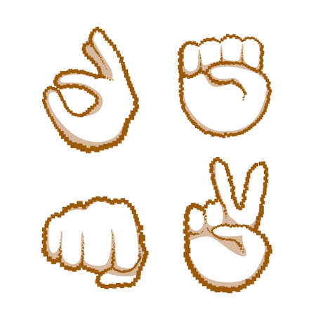 Hand Gestures Set People Emotion Icon Collection Vector Illustration