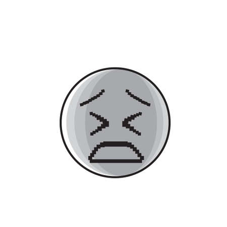 bad mood: Sad Cartoon Face Negative People Emotion Icon Vector Illustration