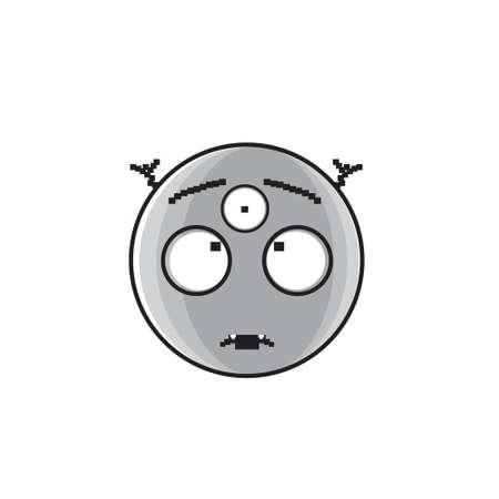 Cara de dibujos animados extranjeros sonrientes con tres ojos personas emoción icono Vector ilustración