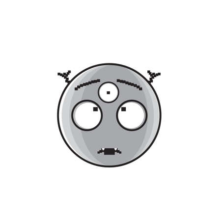 Smiling Alien Cartoon Face With Three Eyes People Emotion Icon Vector Illustration
