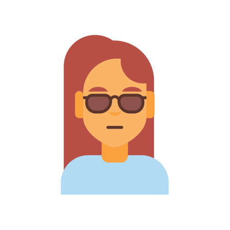 girl wearing glasses: Profile Icon Female Emotion Avatar, Woman Cartoon Portrait Sad Face Vector Illustration