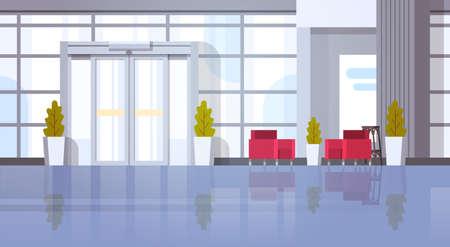 Salón de la oficina moderna Salón de la sala interior Diseño plano ilustración vectorial