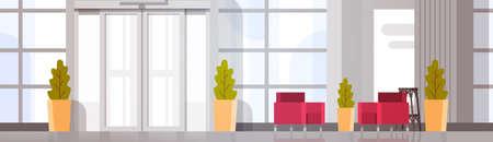 Modern Office Hall Building Waiting Room Interior Flat Design Vector Illustration