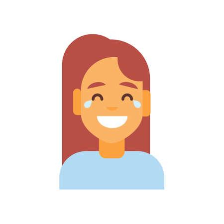 プロフィール アイコン女性の感情のアバター、女性漫画肖像画幸せの顔の笑顔笑いベクトル図