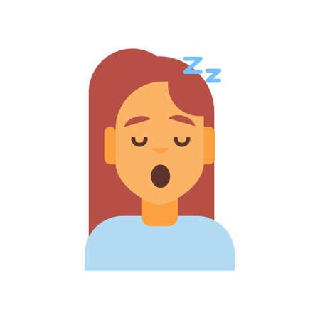 Profile Icon Female Emotion Avatar, Woman Cartoon Portrait Sleeping Face Vector Illustration Illustration