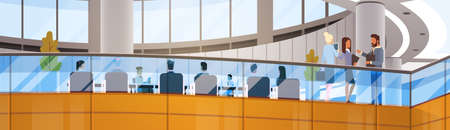 Modern Business Center Office Building Businesspeople Working Meeting Interior Flat Vector Illustration