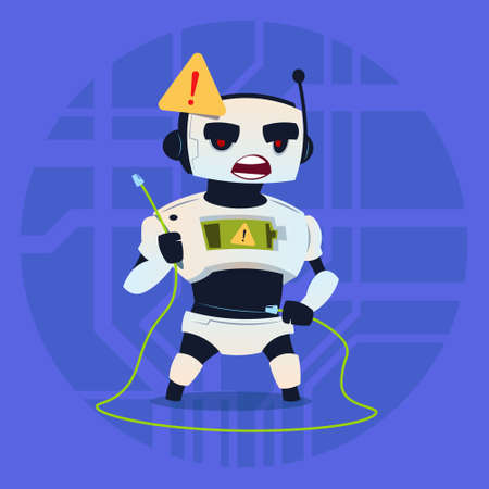 to warn: Cute Robot Error Connection Problem Modern Artificial Intelligence Technology Concept Flat Vector Illustration Illustration