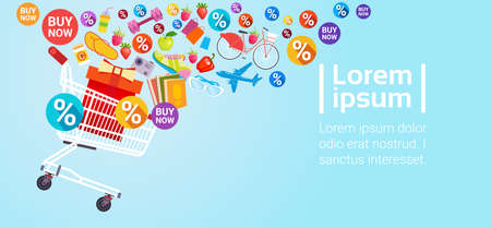 Shopping Cart Discount Tag Sale Special Offer Banner Flat Vector Illustration