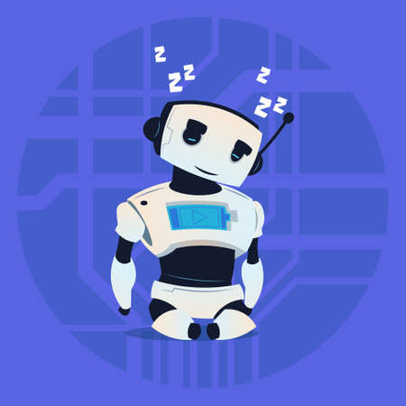 Cute Robot Sleeping Modern Artificial Intelligence Technology Concept Flat Vector Illustration Illustration