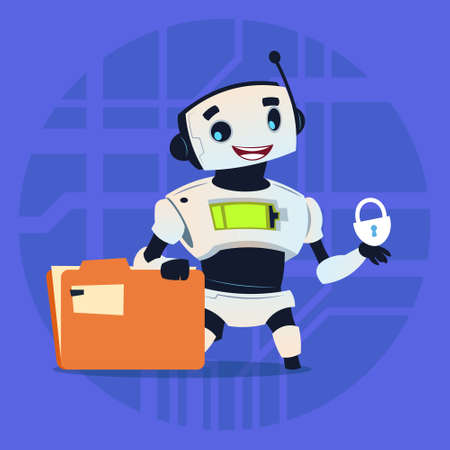 Cute Robot Protect Data Modern Artificial Intelligence Technology Concept Flat Vector Illustration Illustration