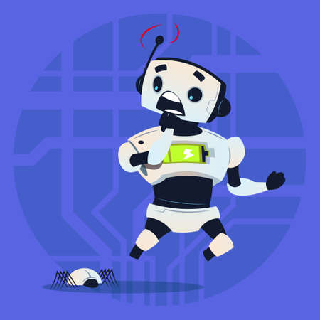 Cute Robot Scared Modern Artificial Intelligence Technology Concept Flat Vector Illustration