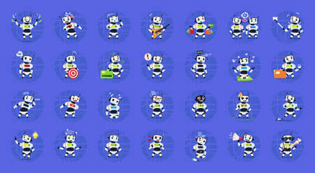 Cute Robots Set Modern Artificial Intelligence Technology Different Cyborg Collection Concept Flat Vector Illustration