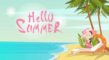 wave hello: Woman On Beach Hello Summer Vacation Tropical Seaside Ocean View Flat Vector Illustration