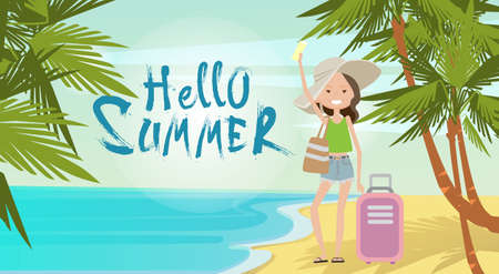wave hello: Woman With Suitcase On Beach Hello Summer Vacation Tropical Seaside Ocean View Flat Vector Illustration Illustration