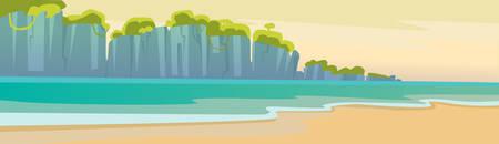 coastal: Hello Summer Beach Vacation Sand Tropical Seaside Ocean Mountain View Flat Vector Illustration