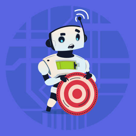 taget: Cute Robot Holding Taget Aim Modern Artificial Intelligence Technology Concept Flat Vector Illustration Illustration