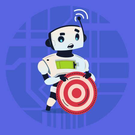 Cute Robot Holding Taget Aim Modern Artificial Intelligence Technology Concept Flat Vector Illustration Illustration