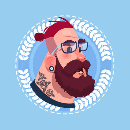Profile Icon Male Emotion Avatar, Hipster Man Cartoon Portrait Shocked Face Flat Vector Illustration