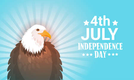 political party: Eagle United States Independence Day Symblol Holiday 4 July Greeting Card Flat Vector Illustration