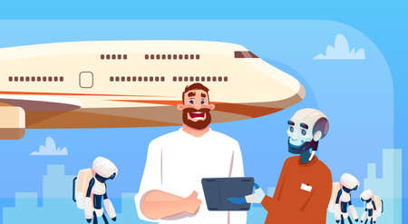 Chat Bot Robots And Man Using Tablet Computer Booking Tickets On Plane Virtual Assistance Artificial Intelligence Concept Flat Vector Illustration