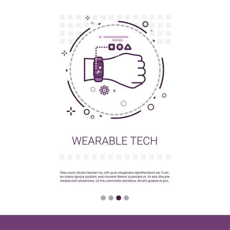 touch screen interface: Wearable Tech Smart Watch Technology Electronic Device Web Banner With Copy Space Vector Illustration