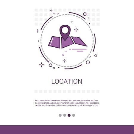 global positioning: Map Navigation Location Position Web Banner With Copy Space Vector Illustration Illustration
