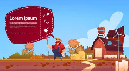 Farmer Hold Rake Work On Field Cartoon Character Country Man Near Farm Building Eco Farming Concept Flat Vector Illustration