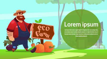 plant stand: Farmer Cartoon Character Country Man Eco Farming Fresh Domestic Food Concept Flat Vector Illustration