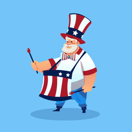 Man Wearing American Flag Colored Hat Play Drums Celebrate United States Independence Day Holiday Flat Vector Illustration Illustration