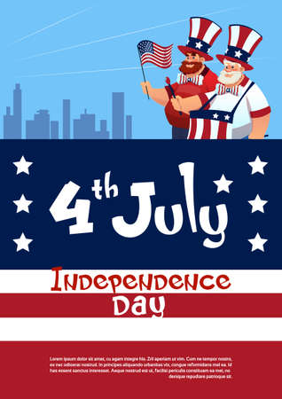 Man Holding American Flag United States Independence Day Holiday Flat Vector Illustration Illustration