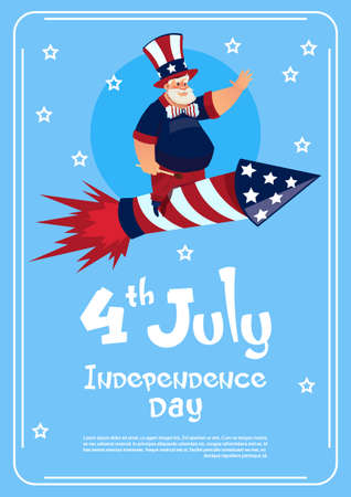 Man Wearing American Flag Colored Hat Ride Firework Rocket Celebrate United States Independence Day Holiday Flat Vector Illustration Illustration
