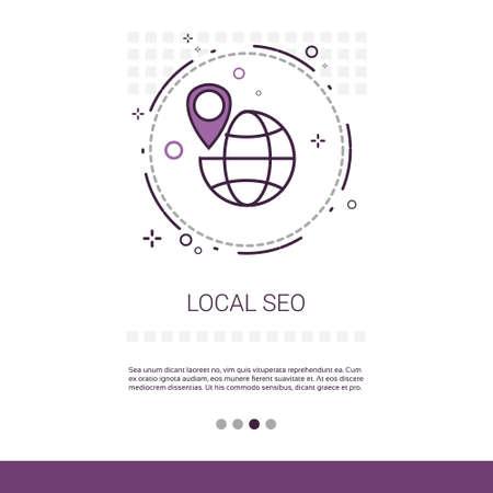 Mot-clé local Seo Rechercher une bannière Web avec une illustration vectorielle de l'espace de copie Vecteurs