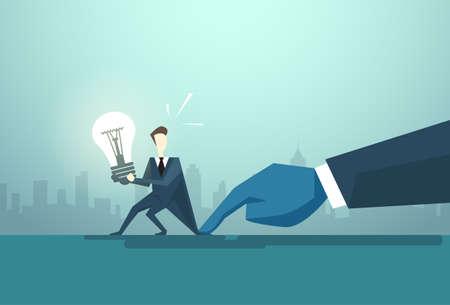 solved: Businessman Hold Light Bulb Problem, Business Man Idea Crisis Concept Flat Vector Illustration