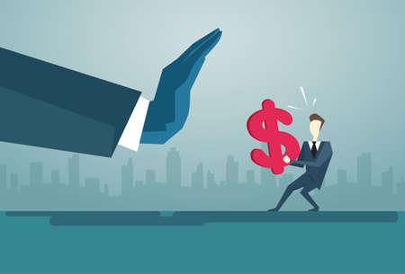 Businessman Hand Hold Dollar Sign Problem, Business Man Finance Crisis Concept Flat Vector Illustration