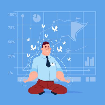 man meditating: Business Man Sit Yoga Lotus Pose Relaxing Meditation Concept Flat Vector Illustration
