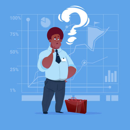 African American Business Man With Question Mark Pondering Problem Concept Flat Vector Illustration Illustration