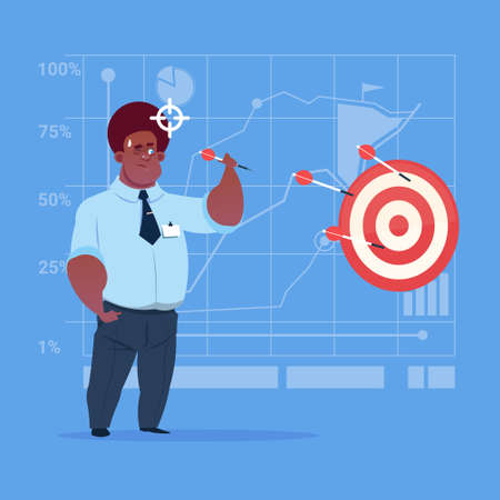 African American Business Man Hold Arrow Hit Target Successful Goal Concept Flat Vector Illustration