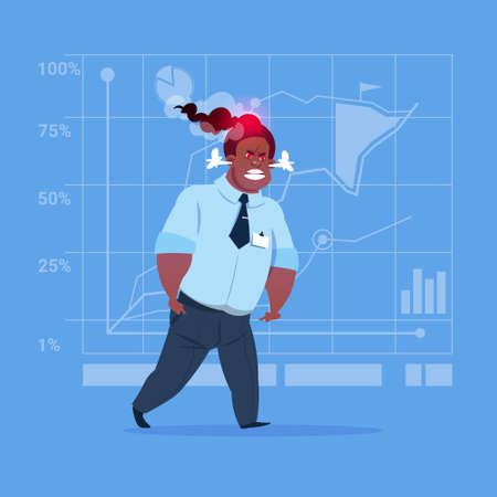 African American Angry Business Man Negative Emotion Concept Failure Problem Flat Vector Illustration Illustration