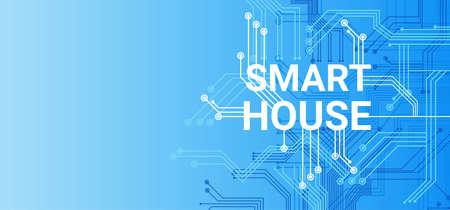 Smart House tecnología de control del sistema Icon Infographic con espacio de copia Ilustración vectorial