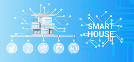 Smart House Technology Control System Icon Infographic With Copy Space Vector Illustration