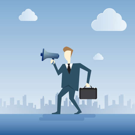 loud speaker: Business Man Hold Megaphone Loudspeaker Digital Marketing Concept Flat Vector Illustration Illustration
