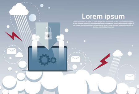 provision: Laptop Computer Device Data Protection Cloud Storage Security Flat Vector Illustration