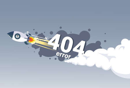 404 Not Found Error Message Internet Connection Problem Concept Banner Flat Vector Illustration Illustration